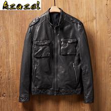 Azazel 2020 wiosna prawdziwa skórzana kurtka mężczyźni skóra owcza płaszcz motocykl kurtka motocyklowa Vintage Slim Fit MG9-k9192 KJ4426 tanie tanio TH (pochodzenie) STANDARD NONE Poliester Kieszenie Stałe Krótki Szczupła Kożuch Na co dzień zipper Pełna men leather jackets jacke