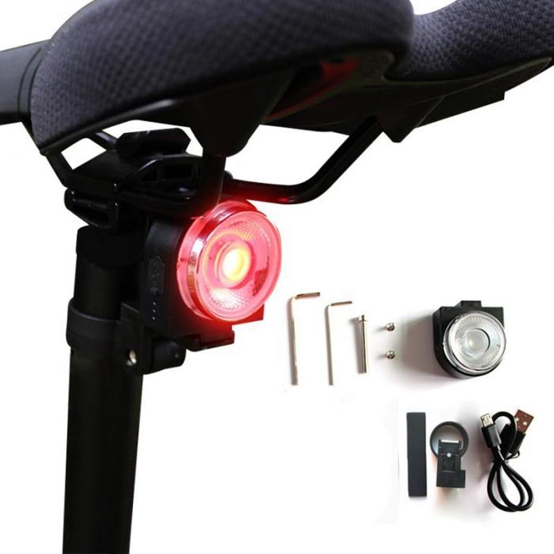 Led Bicycle Mountain Bike Bicycle Tail Light Usb Charging Smart Brake Induction Night Trip Color Warning Lights