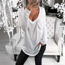 Camisa de manga comprida de manga comprida com decote em v camisa de manga comprida t casual solto algodão pulôver topo