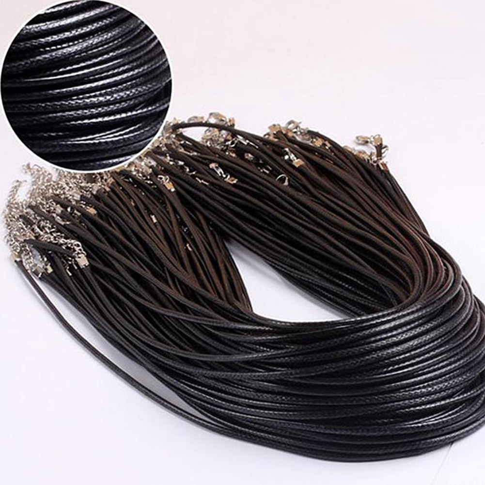 Braided Adjustable Black Leather Rope Wax Cord DIY Handmade Necklace Pendant Lobster Clasp String Cord Jewelry Chains
