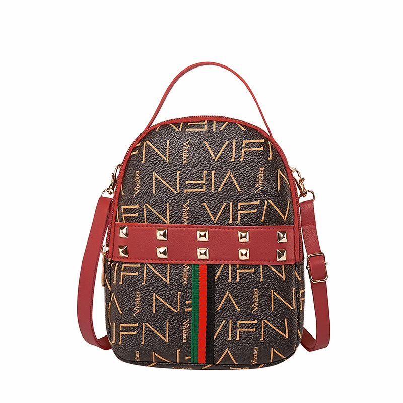 Small Backpack WOMEN'S Bag Korean-style New Style Retro Color Matching Lettered Fashion One-shoulder Bag