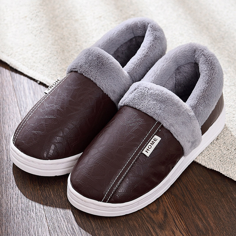 Men Slippers Home Slippers Man Large Size 41-45 Plush Warm Slippers For Men Soft Non-slip Winter Slippers Waterproof 2020 New