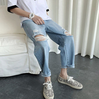 2020 Mens Cool Blue Jeans Streetwear Men Fashion Kpop Caro Jeans Male Ripped Destroyed Stretch Korean Hip Hop Pants With Holes image