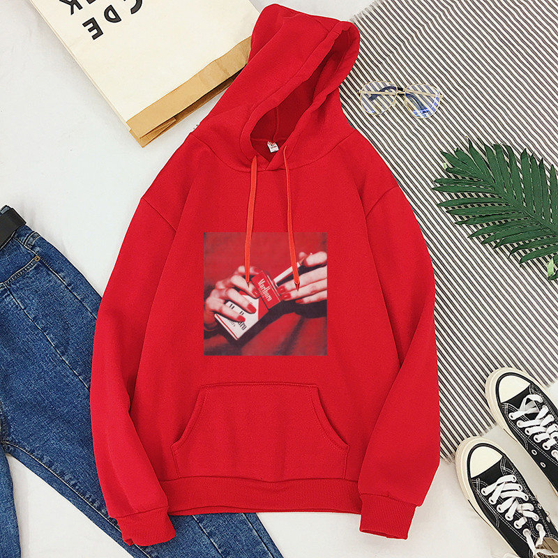 Spring 2020 New Winter Hooded Sweatshirt Woman Harajuku Fashion Smokes Women's Pullover White Oversized Hoodie Tops Female