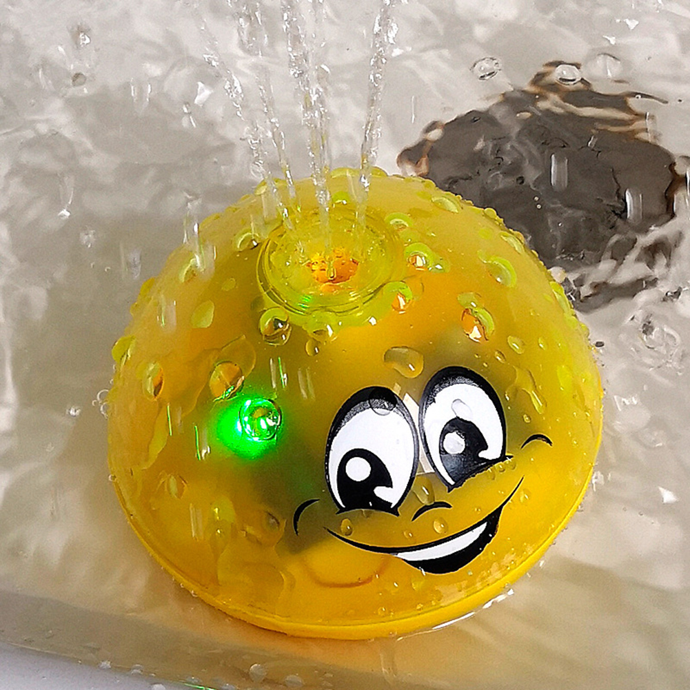 Funny Infant Bath Toys Baby Electric Induction Sprinkler Ball with Light Music Children Water Play Ball Bath interactive toy(China)