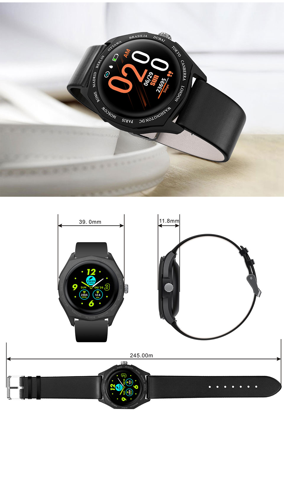 LEMFO V18 Smart Watch Women 1.22 Inch Full Round Touch Screen Color Changing Strap Heart Rate Monitoring Lady Smartwatch