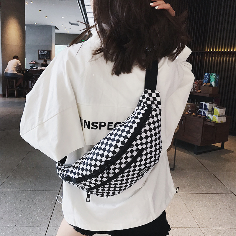 Women Fanny Pack High Capacity Waist Bag Black White Plaid Chest Bags Fashion Luxury Brand Belt Bag Female Bum Banana Waist Pack