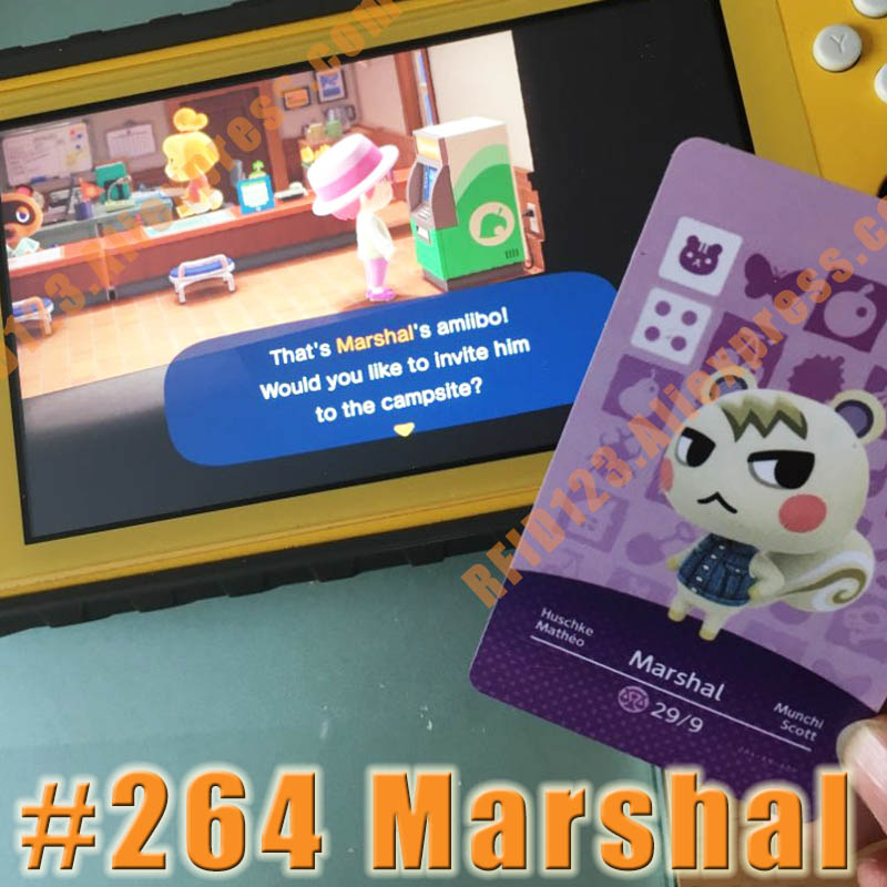 264 Marshal Animal Crossing Card Amiibo Cards Work For Switch NS 3DS Games