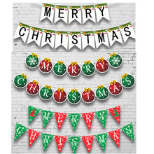 Merry Christmas Banner Paper Garland Snowman Santa Claus Xmas Party Bunting Hanging Decora DIY New Year Christmas Tree Ornaments new nature color merry christmas banner with glitter stars trees holiday garland festive bunting for xmas party fireplace mantel