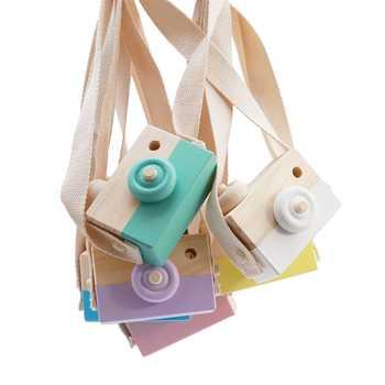 Nórdico bonito pendurado câmera de madeira brinquedos crianças brinquedo presente 10*8*5.5cm decoração do quarto artigos de mobiliário brinquedos de madeira para o miúdo