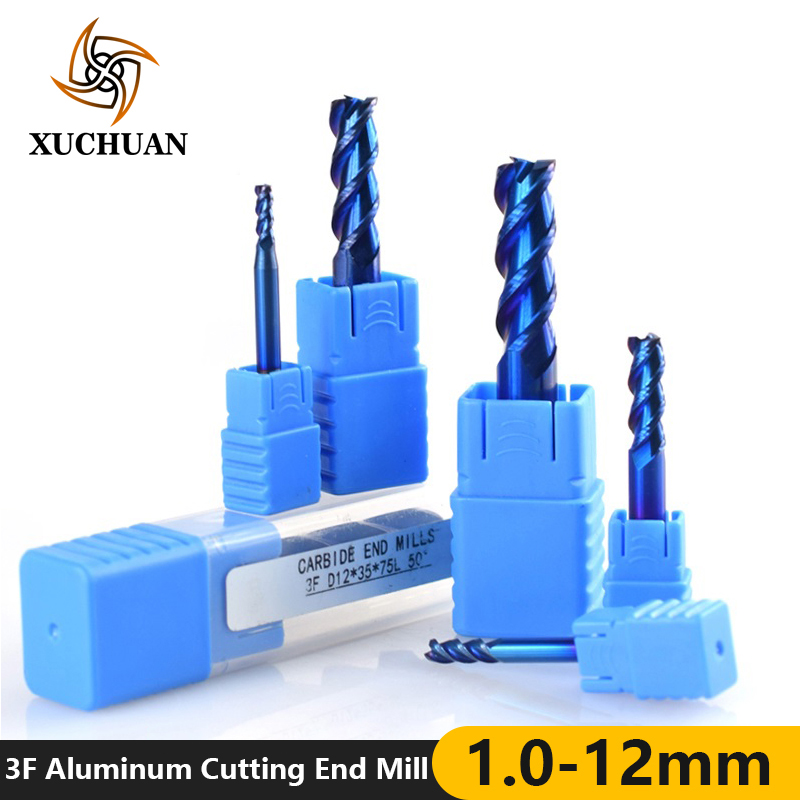 1pc 1-12mm 3 Flutes End Mill For Aluminum Cutting Nano Blue Coating CNC Router Bit Carbide End Mill End Milling Cutter