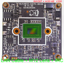 "IPC (1080 P) 1/2. 8 ""SONY STARVIS IMX307 CMOS חיישן תמונה Hi3516E V200 CCTV IP מצלמה PCB לוח מודול + LAN כבל + IRC + M12 עדשה"