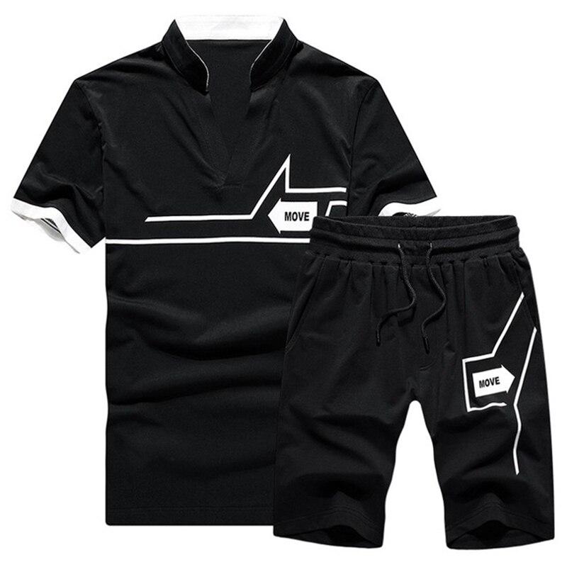 Tracksuit Casual Men 2020 Summer Two Piece Set Men Short Sleeve T Shirt+Shorts Suit Mens Sportwear Slim Fit Shorts Sets Outwear