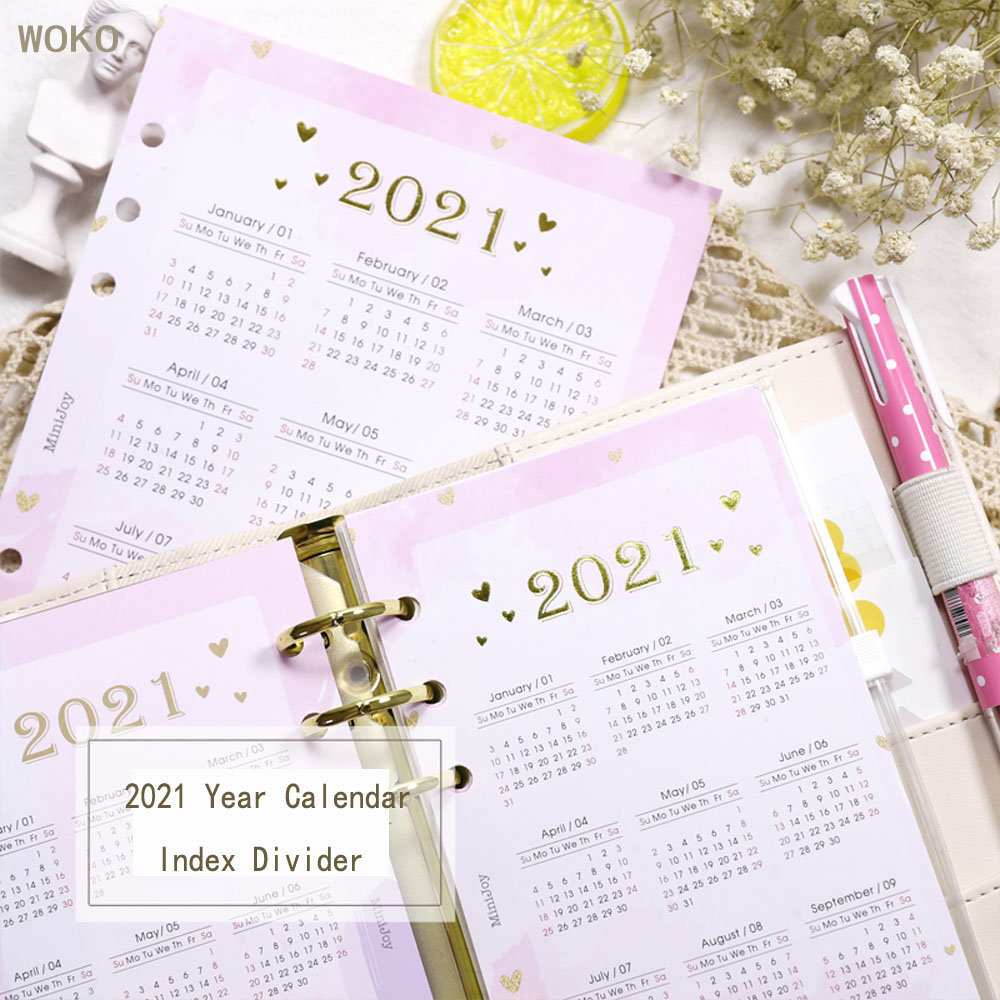 WOKO 2Sheets 2021 Year Calendar Index Divider Creative Cute Planner Inners For 6 Holes Binder Weekly Notebooks Stationery A5A6A7