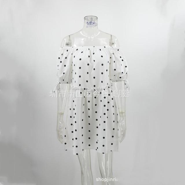 New 2021 Summer Sexy Women's Dress Slash Neck Loose Polka Dot Print High Waist Mini Dress Female Short Sleeve Femme Robe Vestido 6