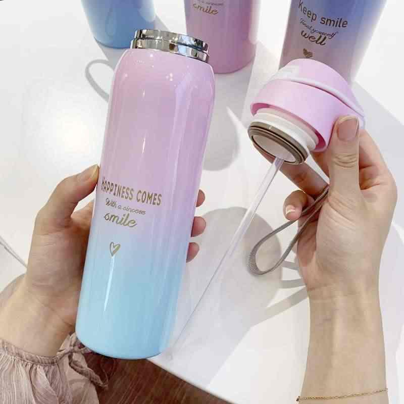 480 ml isolado thermals leite & café cup18/8 garrafa térmica de aço inoxidável palha gradiente garrafa de água esportes & balão de vácuo ao ar livre