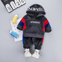 Baby Kid Boy Hooded Clothes Set for Toddler Letter Kids Suit Velvet Autumn Spring Children Outfit