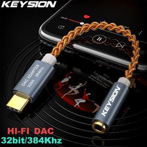 KEYSION HIFI DAC earphone Amplifier USB Type C to 3.5mm Headphone Jack audio adapter