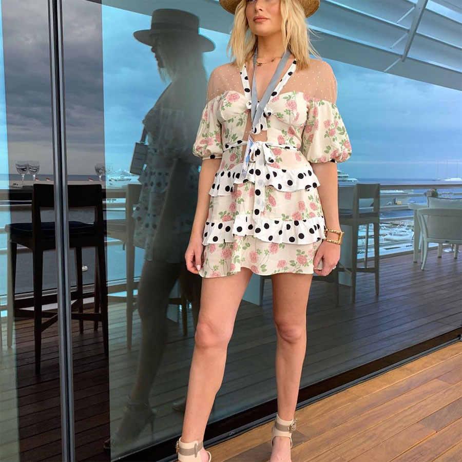 2019 женское модное сексуальное Сетчатое платье с коротким рукавом, гофрированное стильное лоскутное платье в горошек и Сетчатое платье с узором женское платье с v-образным вырезом