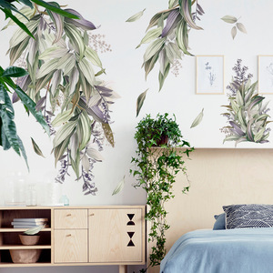 Nordic style DIY Leaves Wall Stickers for Bedroom Living room Decoration Self-adhesive Door Windows Decals Art Home Decor