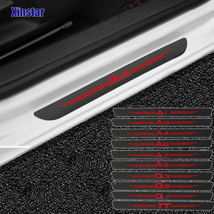 4pcs Carbon Fiber Door Sills Guards Sticker For Audi A3 A4 A5 A6 A7 A8 TT Q3 Q5 Q7 A1 B5 B6 B7 B8 B9 8P 8V 8L C6 C5 C7 4F