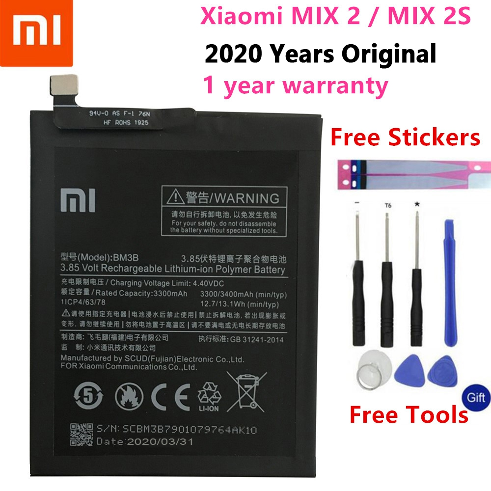 100% Original Xiao <font><b>Mi</b></font> Original Replacement <font><b>Battery</b></font> BM3B For Xiaomi <font><b>MIX</b></font> 2 <font><b>2S</b></font> 3300mAh High Capacity Phone <font><b>Batteries</b></font> Free Tools image