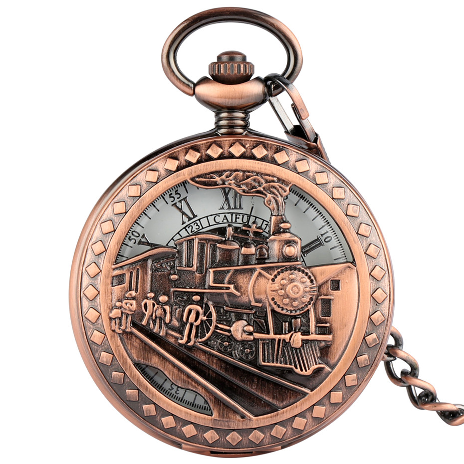 Steampunk Train Manual Mechanical Pocket Watch Roman Numeral Design Hand Winding Antique Pendant Clock With Fob Pocket Chain