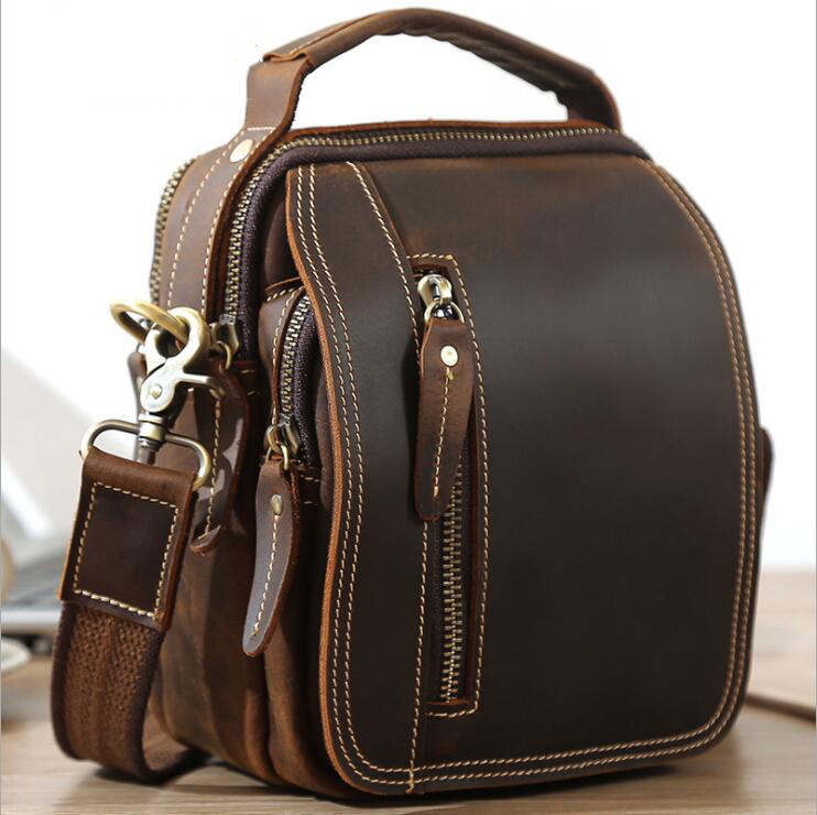 MAHEU Super Quality Men's Mini Shoulder Bag Genuine Leather Phone Pouch On Belt Small Crossbody Bag With Handle Outdoor Bag