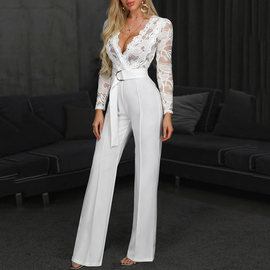 Women's High Waist Sexy Lace Jumpsuit Fashion Women Flower Print Long Sleeve Long Pants White Jumpsuit Macacao Social