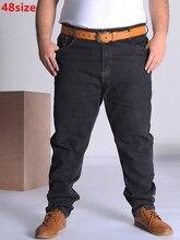 Sonbahar büyük boy kot erkekler büyük kod mavi büyük boy elastik büyük erkek pantolon 46 50 52