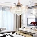 Европейский Хрустальный Невидимый вентилятор  освещение 42 дюймов  гостиная  ресторан  спальня  бесшумный потолочный вентилятор со светом  р...