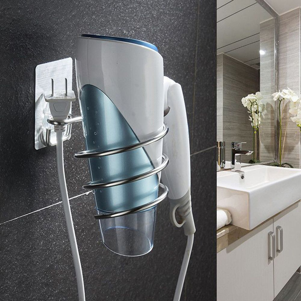 Stainless Steel Hair Dryer Holder Rack Blower Rail Frame Stand Rest Bathing Room Storage Shelf