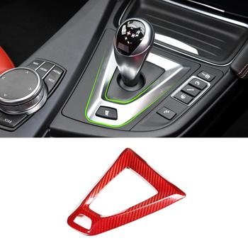 Red Real Carbon Fiber Car Shift Frame Trim for BMW M3 M4 F80 F82 F83 2014-2018 Right-hand drive vehicles Accessories