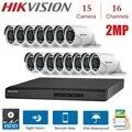 Открытый 2MP 16 каналов Hikvision DVR met 15 шт. 2MP 4 в 1 TVI/CVI  AHD/CVBS камера Beveiliging Nachtzicht Cctv-systeem наборы