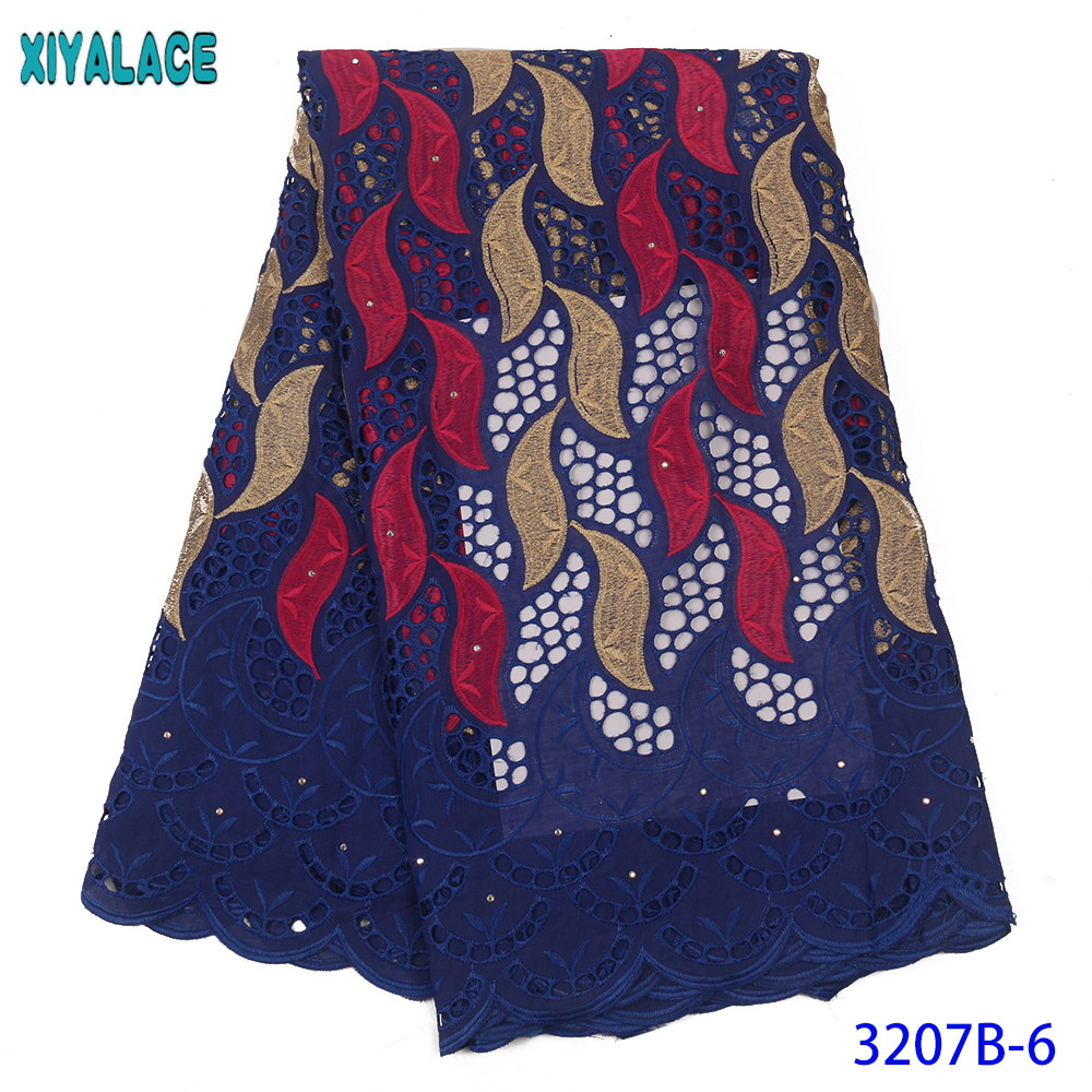 Dry Lace Swiss Voile Lace Fabric High Quality White African Dry Lace New Cotton Lace With Stones Royal Blue KS3207B