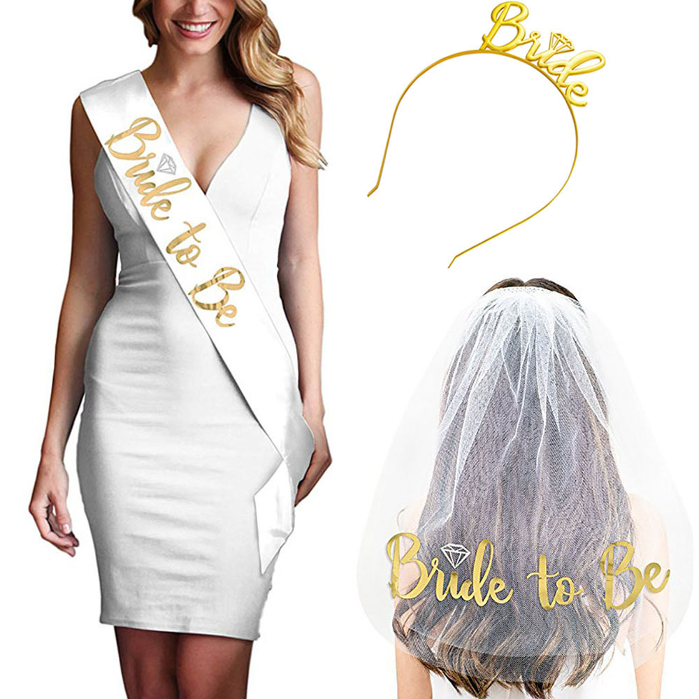 Bride To Be Satin Ribbon Sash With Diamond Ring Bachelorette Hen Party Sash For Wedding Party Bridal Shower Decoration Supplies