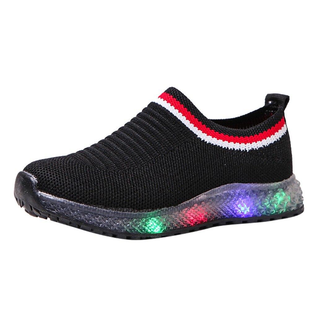 US LED Kids Boy Girl Sports Shoes Baby Lights Running Mesh Sneaker Breathable