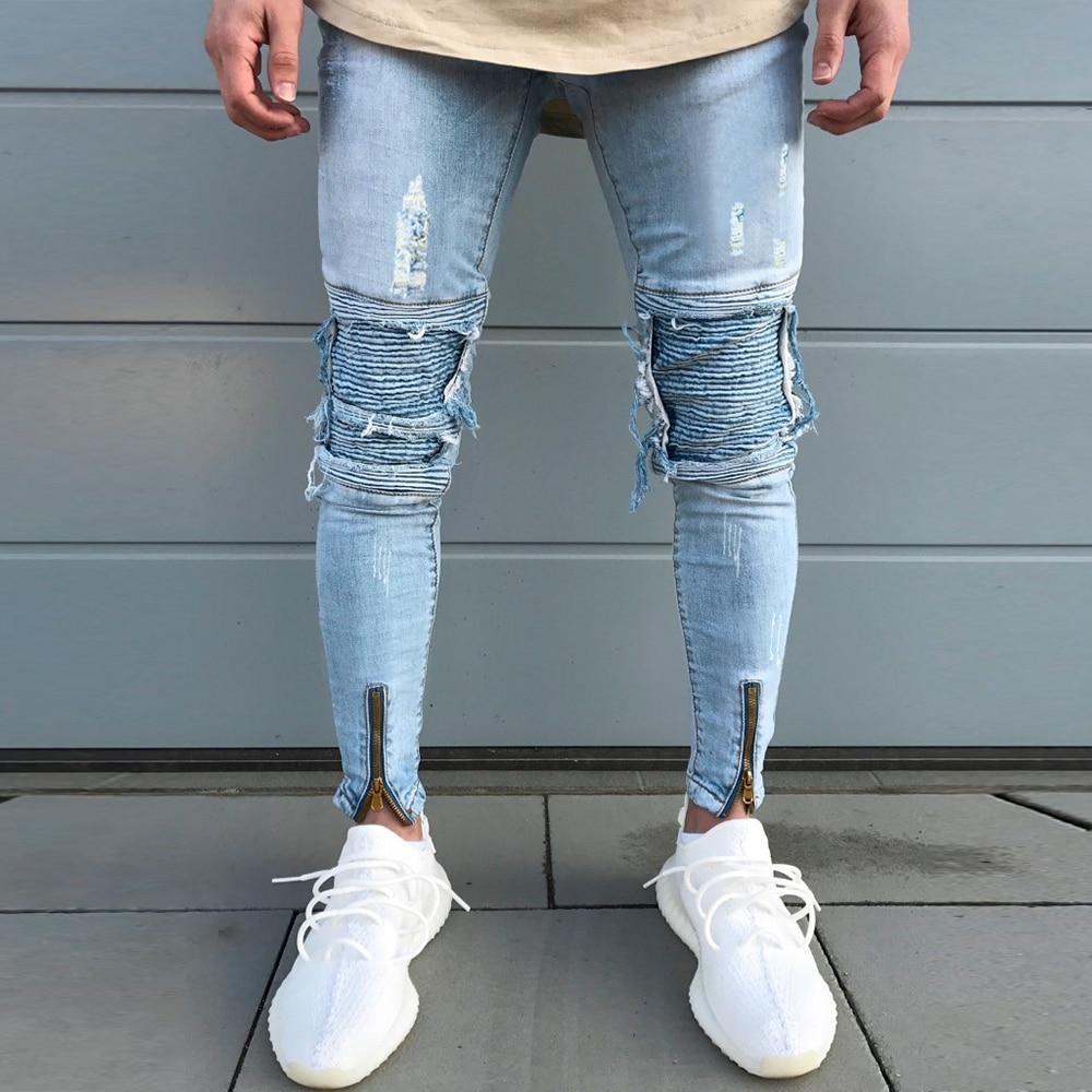Pleated Men Jeans Slim Fit Zipper Denim Pants Washed Blue Vintage Mid Waist Men's Ripped Skinny Jeans Ankle-Length Trousers D30