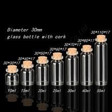 Mini Bottle with Cork Stopper 10ml 15ml 20ml 25ml 30ml 40ml 55ml Empty Bottles Containers Jars Vial idea for Wedding Gift 50pcs