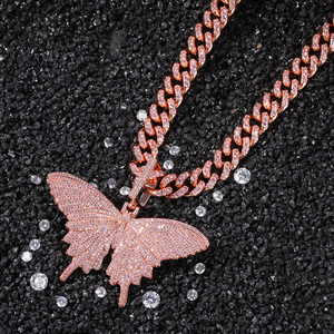 Image 2 - UWIN Hiphop Rose Gold Butterfly Pendant Necklaces Pink Cuban Link Chain For Women Iced Out AAA Cubic Zircon Fashion Jewelry