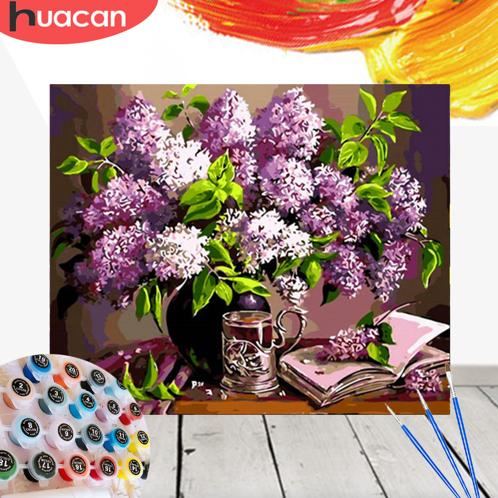HUACAN Pictures By Numbers Flowers HandPainted Drawing Canvas Oil Painting Kits DIY Coloring Home Decoration Gift