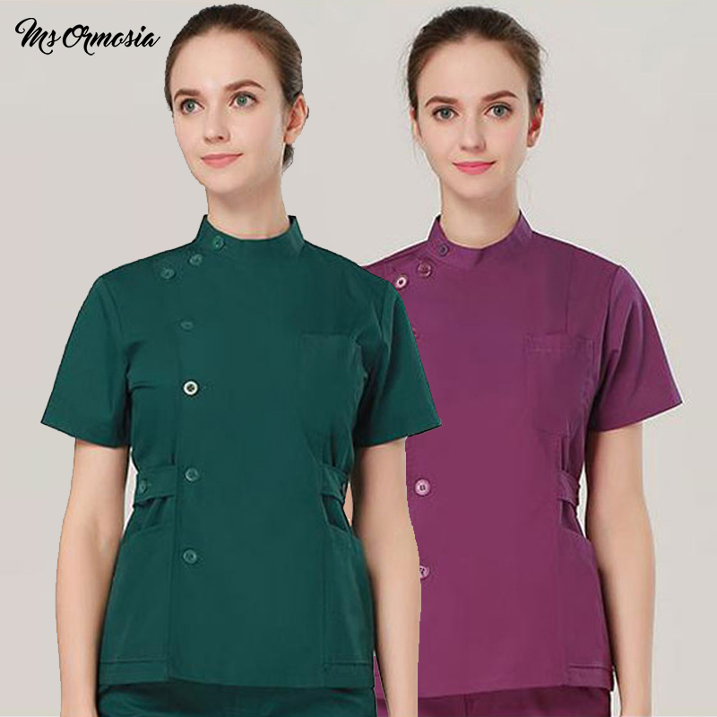 MSORMOSIA Summer New Fashion Women Hospital Medical Clothes Design Slim Workwear Solid Salon Uniform Nurse Scrubs(just A Top)