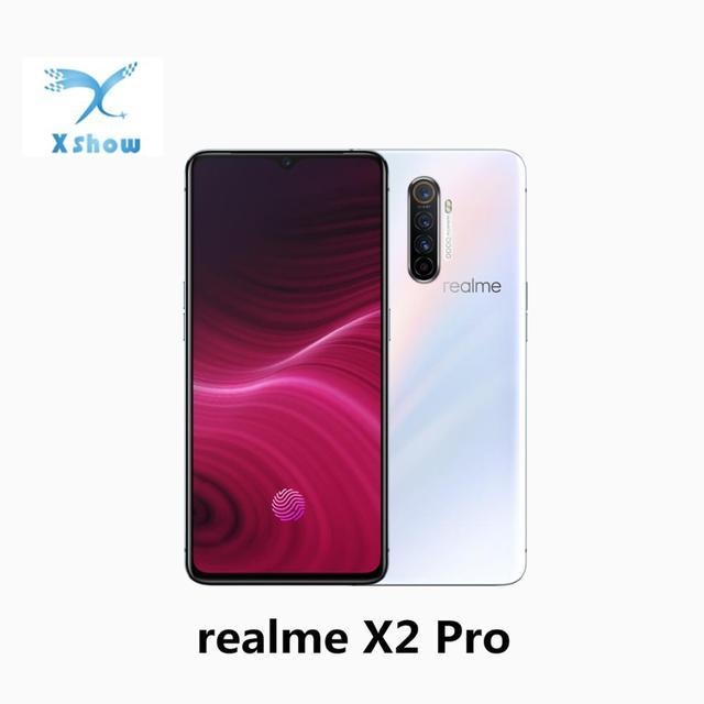 """Realme X2 برو الهواتف المحمولة 6.5 """"قطرة الندى أنف العجل 855 زائد سوبر AMOLED NFC 50W سوبر VOOC 4000mAh 4 camers 64MP الهاتف المحمول"""