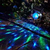 LED Projection Light Rotary Spotlight Moving Lawn Lamp Solar Projector Power For Outdoor Garden Yard Waterproof Lighting