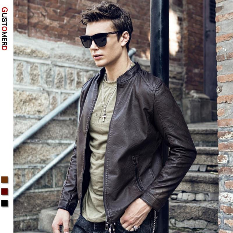 GustOmerD  New Men's Leather Jacket Slim Fashion Stand Collar Coat Solid Color Zipper Long Sleeve Jacket Men