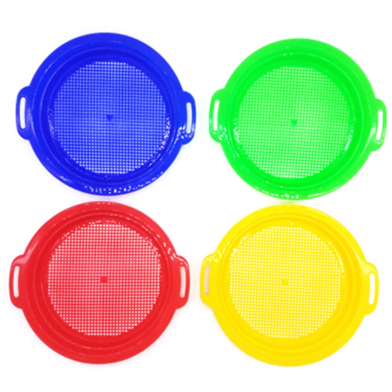 4PCS Stop Sand Sifter Sieves Toy For Sand Beach 4 Pack Set Red Blue Yellow Green For Children Kids Toy