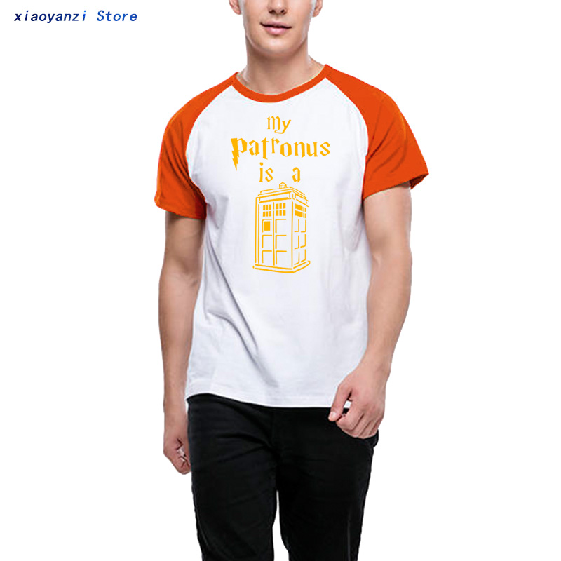 Doctor Who My Patronus Is A Tardis Police Box Couple Clothes Man Men O-neck Cotton Short-sleeve Unisex T-shirt