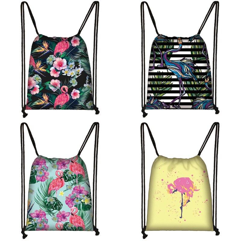 Cartoon Flamingo Print Drawstring Bag Women Travel Bag Teenager School Bag Brown Girl And Boy Backpack Fashion Storage Bags D201