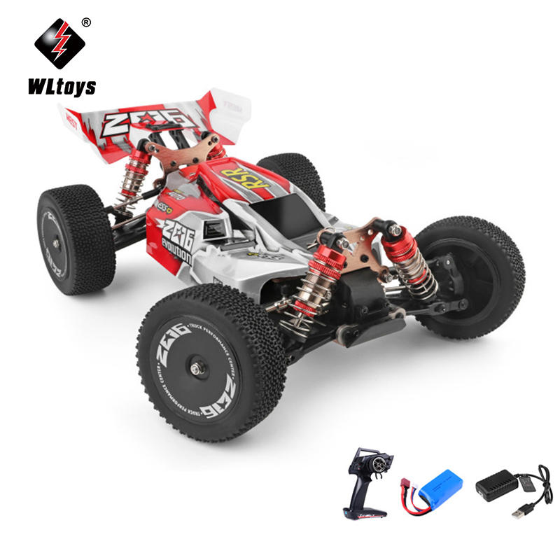 WLtoys 144001 1/14 2.4G Racing Remote Control Car Competition 60 km/h Metal Chassis 4wd Electric RC Formula Car USB Charging 2