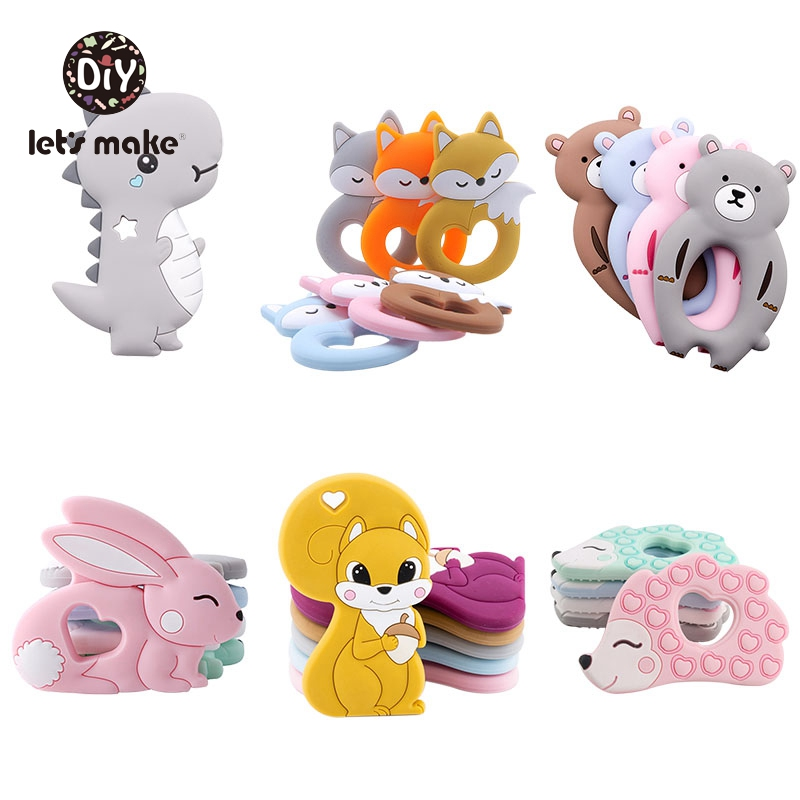 Silicone Teethers Cartoon Animals BPA Free 1pc Food Grade Silicone Teether DIY Teething Toys For Teeth Tiny Rod Baby Teethers
